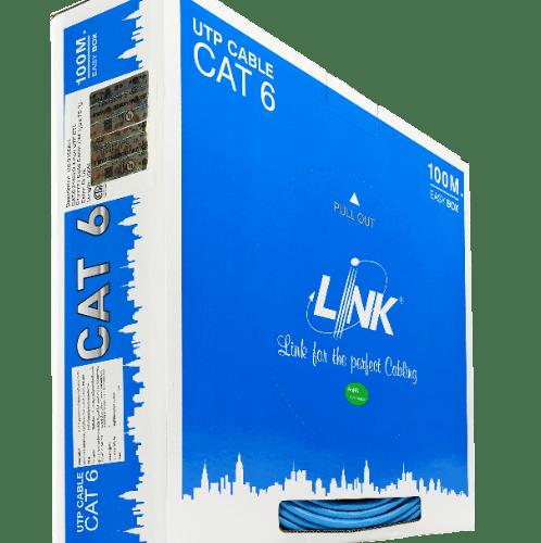 LINK สายแลน CAT6 UTP (250MHz)w 100M US-9106A สีฟ้า