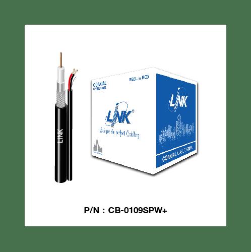 LINK สาย RG6 CCTV สีดำ-มีสายไฟ ชิลด์ 96% LINK ม้วน 500ม. CB-0109SPW-