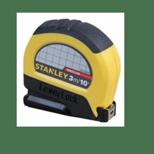 STANLEY ตลับเมตรสแตนเล่ย์เลเวอร์ล็อค 3ม/10ฟุตX13มม. 5-30-808-THA สีเหลือง