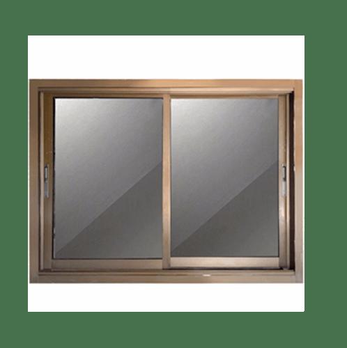 - หน้าต่างอลูมิเนียมบานเลื่อน SS  ขนาด 100x100cm. สีชา