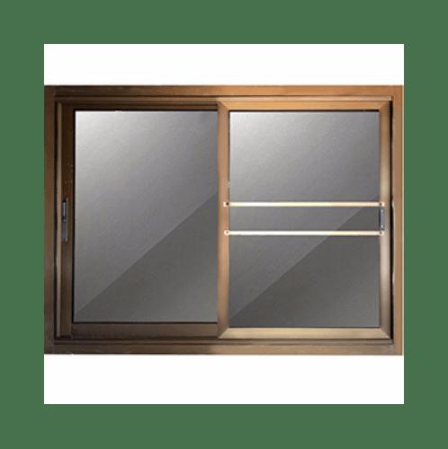 - หน้าต่างอลูมิเนียมบานเลื่อน SS ขนาด  100x100cm. สีชา พร้อมมุ้ง