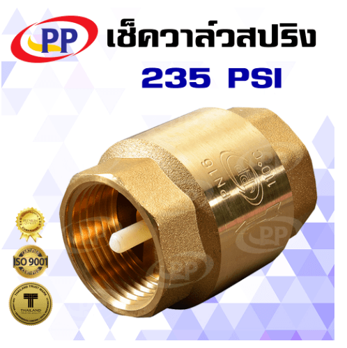 PP เช็ควาล์ว สปริงทองเหลือง  1 1/4 -