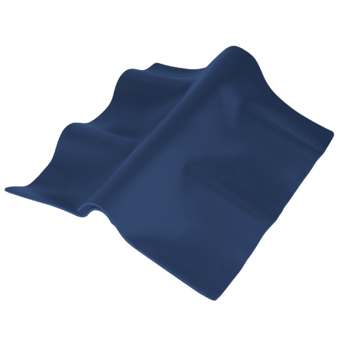 ตราเพชร ครอบปรับมุม ตัวล่าง กระเบื้องลอนคู่ ขนาด 55x30 ซม. สีฟ้าศุภโชค