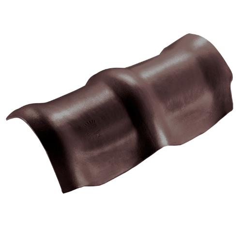 ตราเพชร ครอบสันโค้ง 3 หัว กระเบื้องลอนคู่ ขนาด 26.5x49 ซม. สีน้ำตาลประกายเพชร