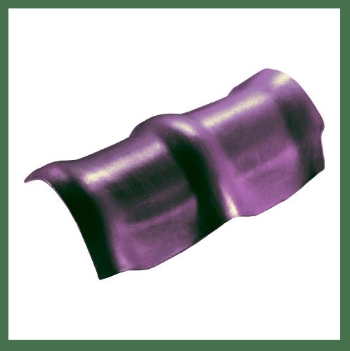 ตราเพชร ครอบสันโค้ง 3 หัว กระเบื้องลอนคู่ ขนาด 26.5x49 ซม. สีม่วงประกายเพชร