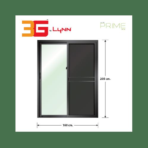 3G ประตูบานเลื่อนสลับ SS (PS) ขนาด 160cm.x205cm. สีดำเงา พร้อมมุ้ง PRIME