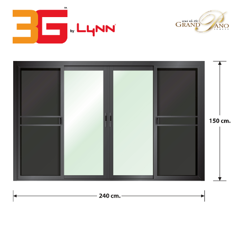 3G หน้าต่างบานเลื่อน FSSF (GP) 240cm.x150cm. สีดำเงา พร้อมมุ้ง  GRAND สีดำ