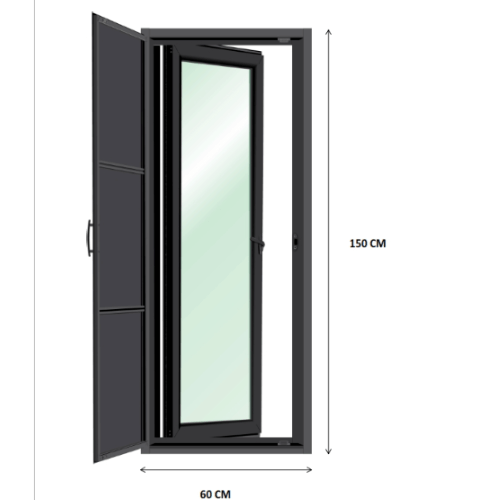 3G หน้าต่างอลูมิเนียมบานเปิดพร้อมชุดมุ้ง  ขนาด  60x150ซม. สีดำเงา