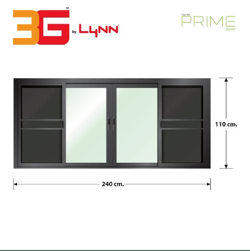 3G หน้าต่างบานเลื่อน FSSF (PS) ขนาด 240cm.x110cm. สีดำเงา พร้อมมุ้ง PRIME