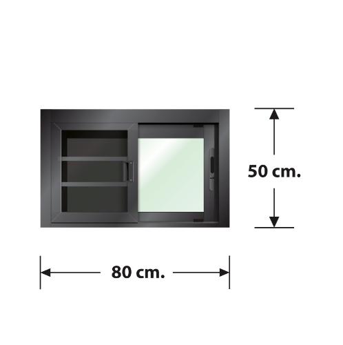 3G หน้าต่างบานเลื่อนสลับ SS (PS) ขนาด 80cm.x50cm. พร้อมมุ้ง PRIME สีดำ