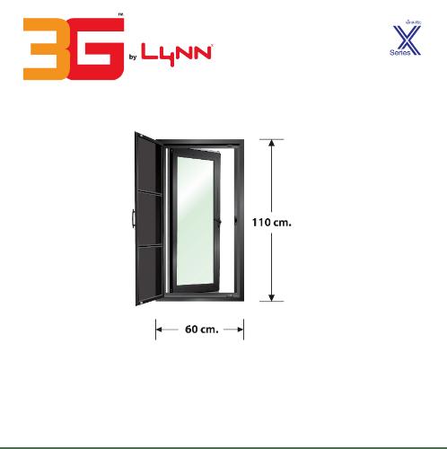 3G หน้าต่างบานเปิดเดี่ยว+ชุดมุ้ง X (60 cm. x 110 cm.)  X-SERIES สีดำ