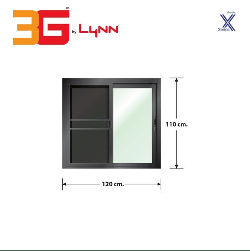 3G  หน้าต่างอลูมิเนียมบานเลื่อนสลับพร้อมมุ้ง ขนาด120x110ซม. สีดำเงา X-SERIES สีดำ