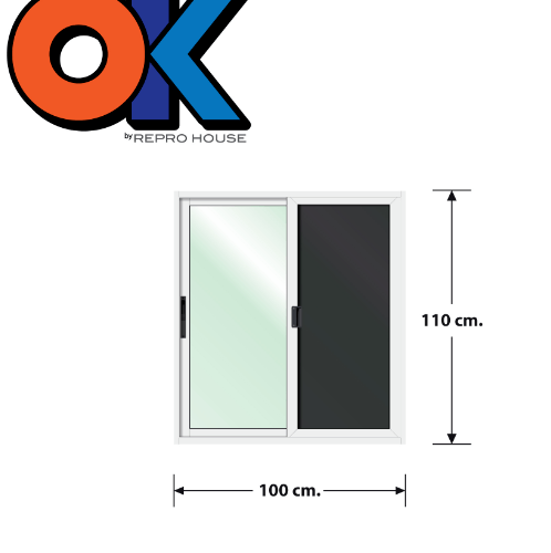 3G  หน้าต่างอลูมิเนียมบานเลื่อนพร้อมมุ้ง Series ขนาด 100x110ซม. OK สีขาว