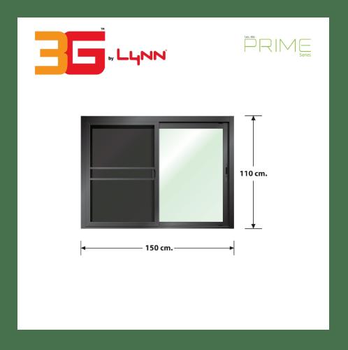 3G หน้าต่างอะลูมิเนียม บานเลื่อน SS (PRIME) 150x110ซม. พร้อมมุ้ง PRIME SERIES ดำ