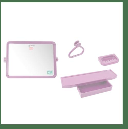 PIXO กระจกชุด4ชิ้น แบบเหลี่ยม MS03 สีชมพู