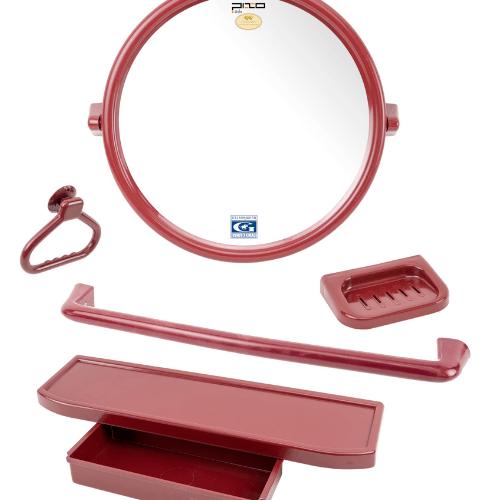 PIXO กระจกชุด5ชิ้น แบบกลม MS09 สีแดง