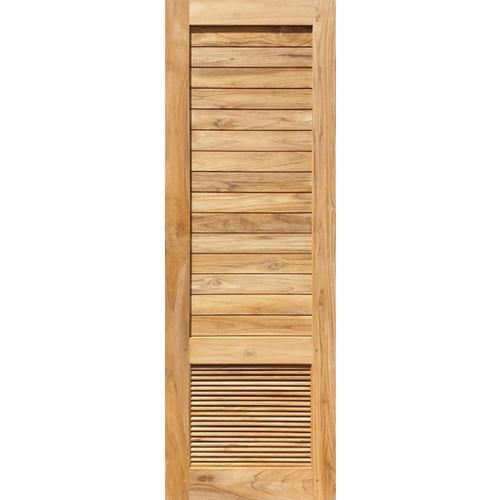SJK  ประตูไม้สัก เซาะร่องพร้อมเกล็ดระบายอากาศ  80x200ซม. SJK013
