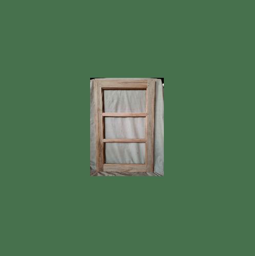 SJK หน้าต่างบันไดไม้สัก ขนาด 70x110ซม.  ขอบ 4 นิ้ว