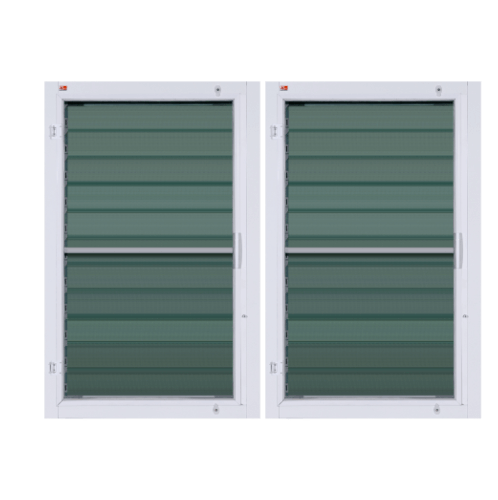 A-Plus  หน้าต่างบานเกล็ดคู่ ขนาด  1.40 m. x 1.10 m. (มีมุ้ง)