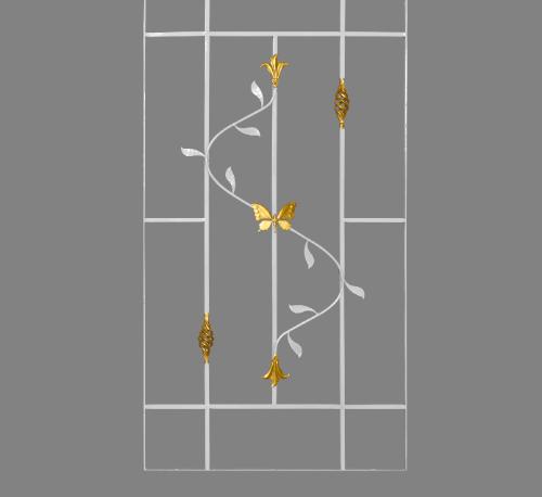 A-Plus เหล็กดัดหน้าต่างลายดอกไม้จีนพร้อมตระกร้อ (ติดใน) 70x110ซม. ขาว