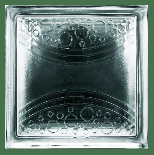ช้างแก้ว บล็อกแก้วใส เส้นโค้งแสง (190x190x80mm)  L-008 ไลท์บล็อก A. ใส