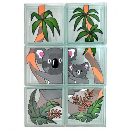 ช้างแก้ว บล็อกแก้วตกแต่ง ชุดโคอาลา  N-014/420  สีเทาอ่อน