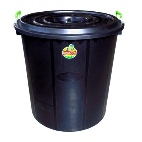 BIGONE ถังน้ำพร้อมฝา ทรงอ้วน  160 ลิตร  สีดำ