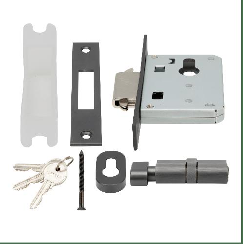HAFELE ชุดตลับกุญแจประตูทางเข้า ระบบมอร์ทิสล็อค 499.65.133 สีดำ