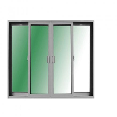 RKT ประตูบานเลื่อน  4ช่อง เปิดกลาง Fixข้างซ้ายขวา 320*205 RKT สีขาวกระจกเขียวใส