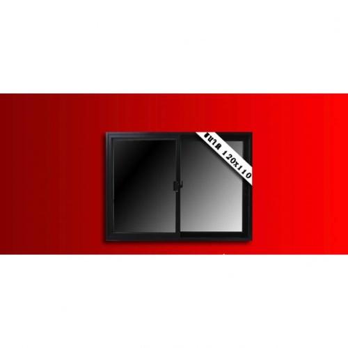 Wellingtan หน้าต่างไวนิลบานเลื่อน ขนาด  120cm.x110cm.  พร้อมมุ้ง  SS WELL สีดำ