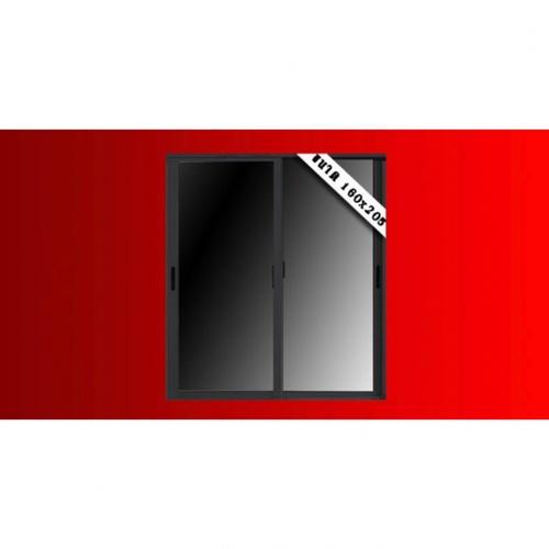 Wellingtan ประตูไวนิลบานเลื่อน -ขนาด 160cm.x205cm.  พร้อมมุ้ง  SS WELL สีดำ