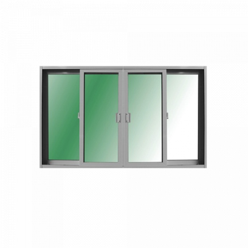 RKT หน้าต่างบานเลื่อนไวนิล 4 ช่อง ขนาด 240x150 ซม.  กระจกสีเขียวใส  สีขาว