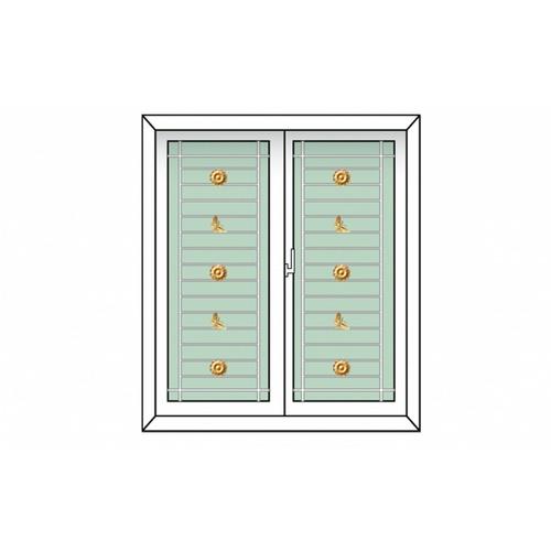 RKT ประตูไวนิล บานเปิดคู่ พร้อมเหล็กดัด  ขนาด 170x240cm.  สีขาว