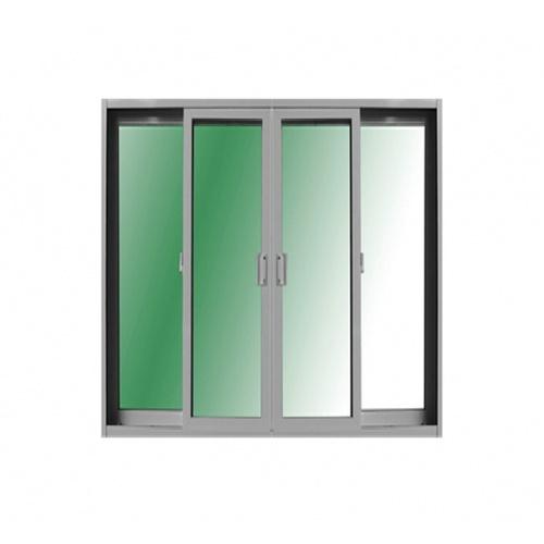 ระฆังทอง ประตูบานเลื่อน  ขนาด 240*205 กรอบขาว กระจกเขียวใส UPVC  4 ช่อง