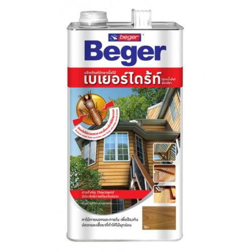 Beger ผลิตภัณฑ์รักษาเนื้อไม้ เบเยอร์ไดร้ท์  ชนิดทา สูตรน้ำมัน สีน้ำตาลดำ 4LT.