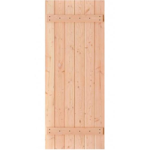 D2D ประตูไม้ดักลาสเฟอร์ บานทึบเซาะร่อง ขนาด 90x200ซม.  Eco Pine-100