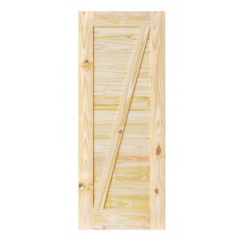 D2D ประตูไม้สนนิวซีแลนด์ บานทีบเซาะร่อง(โรงนา) ขนาด 80x200ซม.  Eco Pine-333