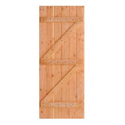 D2D  ประตูไม้ดักลาสเฟอร์ บานทีบเซาะร่อง(โรงนา) ขนาด 94x215ซม. Eco Pine-99