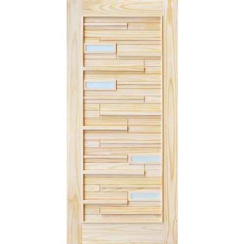D2D ประตูไม้สนNz ทำร่องพร้อมช่องกระจก ขนาด 100x200ซม. D2D-501 Plus