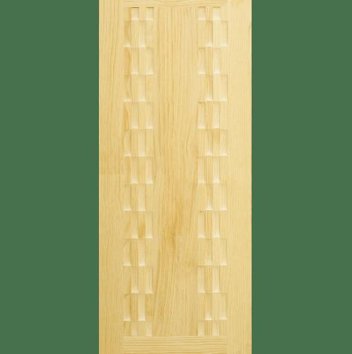 D2D ประตูไม้สนนิวซีแลนด์ บานทึบทำร่อง ขนาด 90x200ซม.  D2D-504