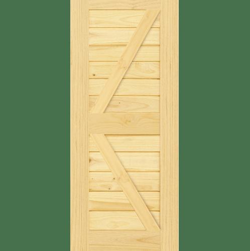 D2D ประตูไม้สนนิวซีแลนด์ บานทึบเซาะร่อง(โรงนา) ขนาด 80x200ซม.  Eco Pine-444