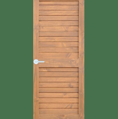 D2D ประตูไม้สนนิวซีแลนด์ บานทึบเซาะร่อง ขนาด  80x200ซม. Eco Ezero26 สีเบรินแอช