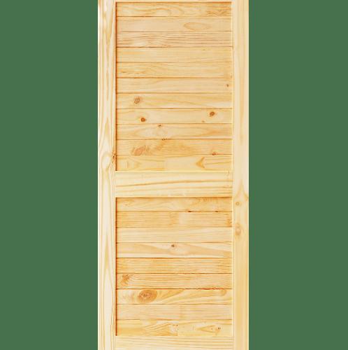 D2D ประตูไม้สนนิวซีแลนด์ บานทึบเซาะร่อง ขนาด  90x175ซม.  Eco Ezero26