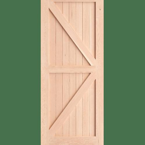 D2D ประตูไม้ดักลาสเฟอร์ บานทึบเซาะร่อง ขนาด  95x203ซม.  Eco Pine-66