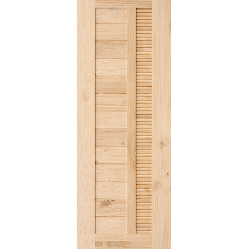 D2D ประตูไม้สนนิวซีแลนด์ ทำร่องพร้อมเกล็ดระบายอากาศ ขนาด 80x200ซม. Eco Pine-051