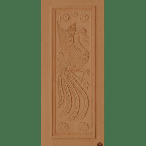 D2D ประตูไม้สนนิวซีแลนด์ บานทึบแกะลายหงษ์ ขนาด  80x200ซม. D2D-999 สีเบรินแอช