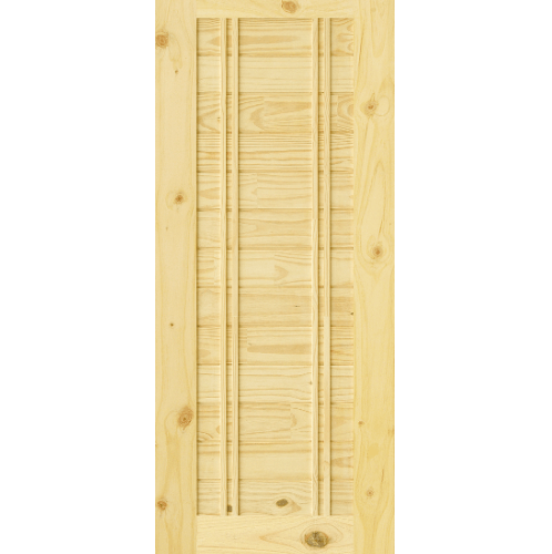 D2D  ประตูไม้สนNz บานทึบทำร่อง ขนาด  70x180ซม. Eco Pine-Ezero 6 ไม้ธรรมชาติ