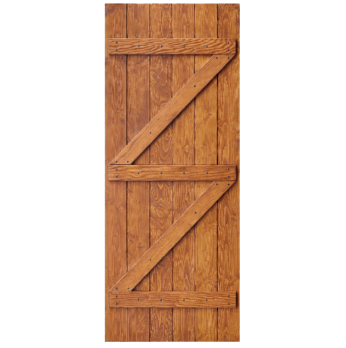 D2D ประตูไม้ดักลาสเฟอร์ บานทีบเซาะร่อง(โรงนา) ขนาด 100x200ซม. Eco Pine-99 สีเบรินแอช