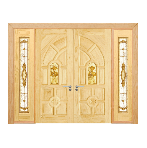 D2D ประตูไม้สนนิวซีแลนด์ ลูกฟักพร้อมกระจก ขนาด 90x200cm. SET 3 D2D-416