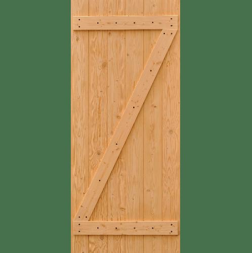 D2D ประตูไม้ดักลาสเฟอร์ บานทึบทำร่อง ขนาด 90x220 ซม. Eco Pine-55